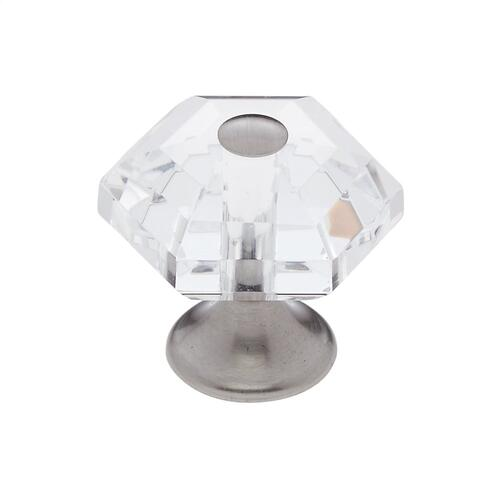 Satin Chrome 30 mm 6-Sided Crystal Knob