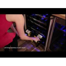 See Details - 24-In Professional Built-In High Efficiency Dual Zone Wine Refrigerator with Door Style - Stainless Steel Frame Glass, Door Swing - Left