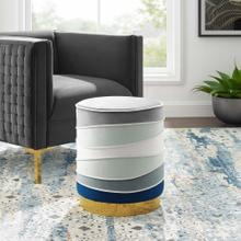 See Details - Ribbon Round Performance Velvet Ottoman in Multicolored