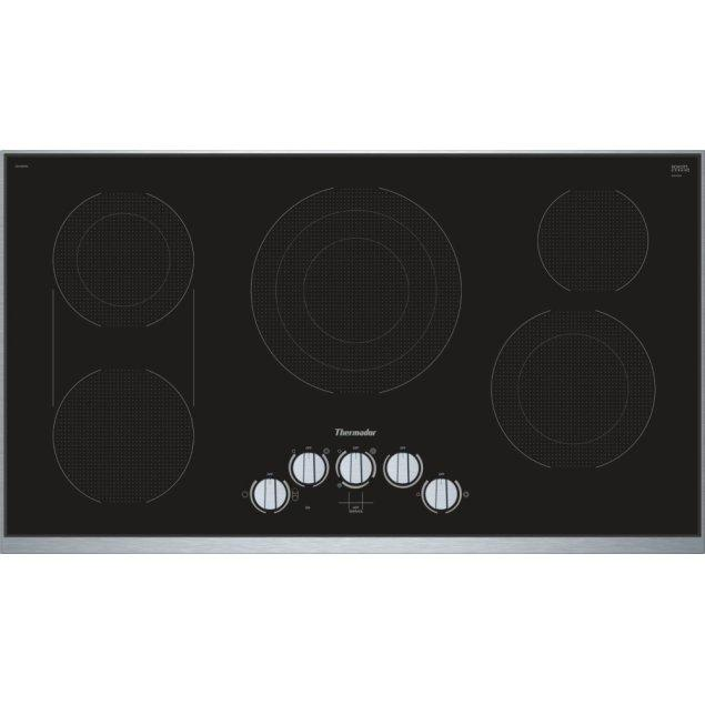 Thermador 36-Inch Masterpiece® Knob Control Electric Cooktop, Black, Framed