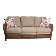 3 Encased fiber filled back pillows over 3 Convo-Lux seat cushions. Sofa arms available in Tropic Natural finish only.