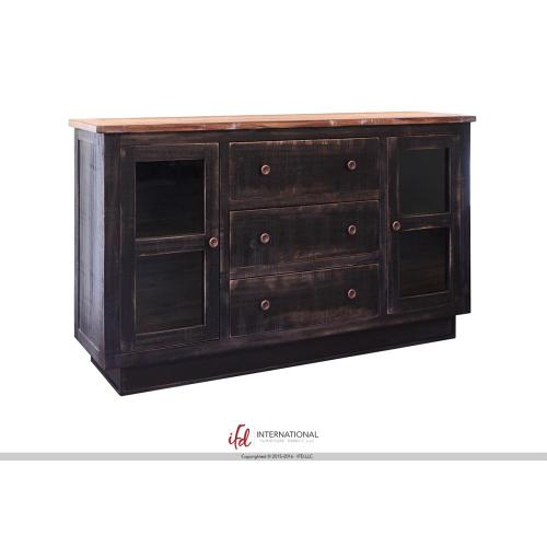 3 Drawers, 2 doors Console - Black Finish