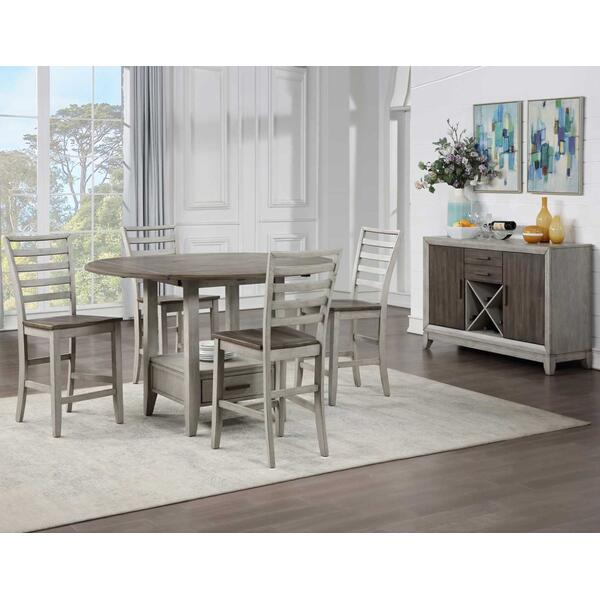 See Details - Abacus 5-Piece Drop-leaf Counter Table Set (Counter Table & 4 Counter Chairs)