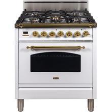 See Details - Nostalgie 30 Inch Gas Natural Gas Freestanding Range in White with Brass Trim