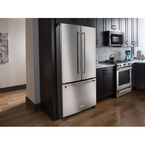 KitchenAid - 25 Cu. Ft. 36-Width Standard Depth French Door Refrigerator with Interior Dispense - Stainless Steel
