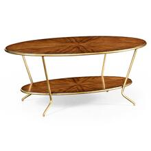 Argentinian walnut veneered oval coffee table