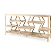 See Details - Dayton II 66L x 16W Natural Wooden Multi-Level Shelf Console Table