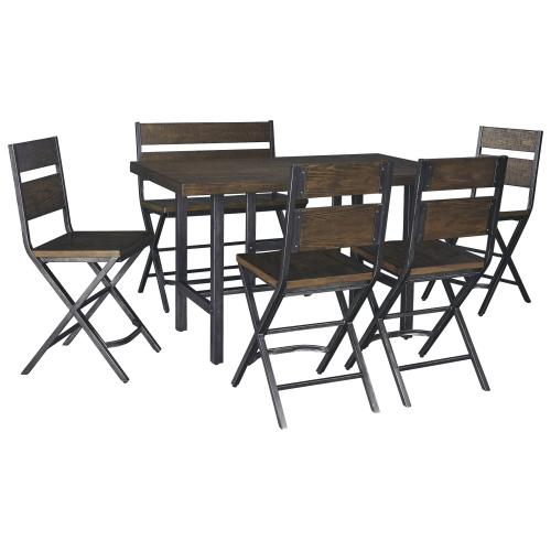 Ashley - Counter Height Dining Table and 4 Barstools and Bench