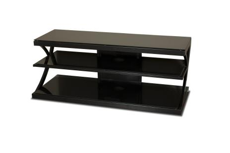 """48"""" Wide Stand - Black Glass Top and Shelves - Accommodates Most 52"""" and Smaller Flat Panels - No Tools Required"""