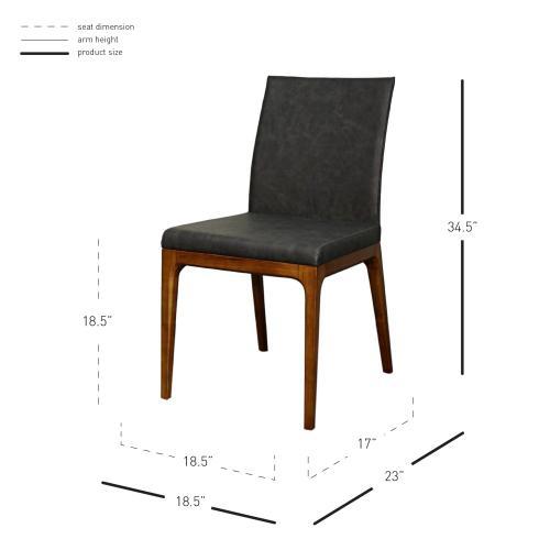 Devon KD PU Chair Walnut Legs, Antique Gray