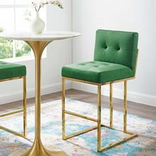Privy Gold Stainless Steel Performance Velvet Bar Stool in Gold Emerald
