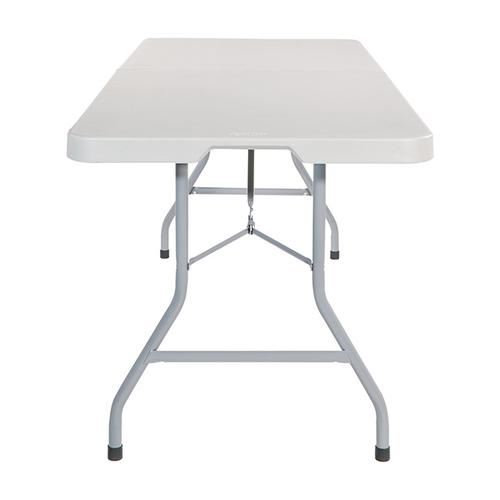 6' Resin Multi Purpose Center Fold Table With Wheels