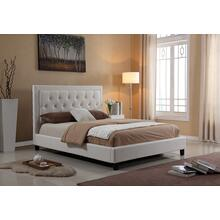 7518 WHITE PU Platform Bed - QUEEN