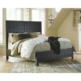 Noorbrook Queen Panel Bed With 2 Storage Drawers Black
