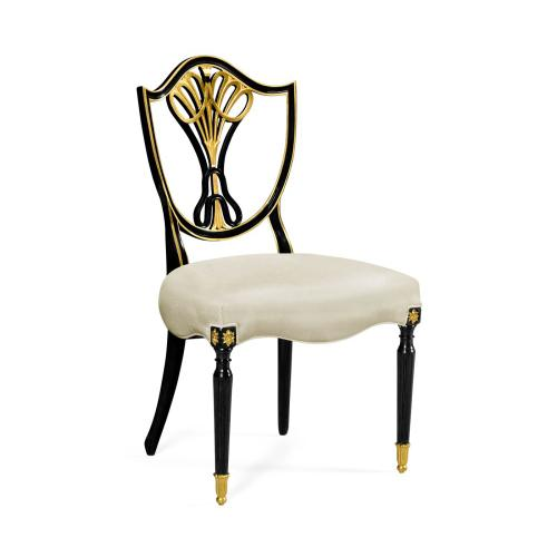 Sheraton Dining Side Chair with Shield Back in Painted Black & Gilded Details, Upholstered in COM
