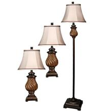 QB-Toffee wood multi pack set includes 2 table lamps floor lamp Natural linen shades