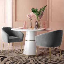 View Product - Arya Performance Velvet Grey Dining Chair