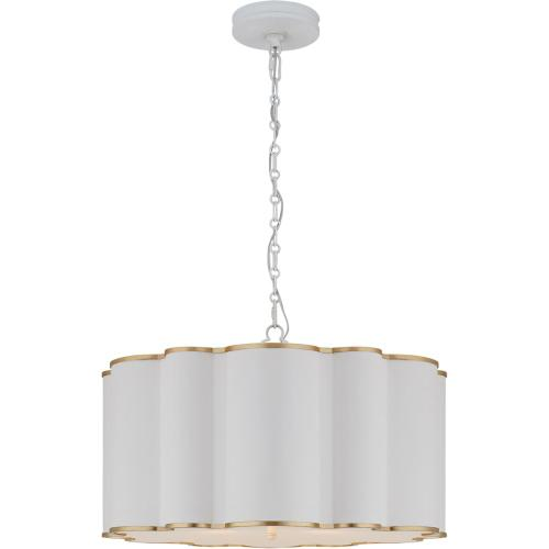 Visual Comfort AH5215WHT/G-FA Alexa Hampton Markos 4 Light 26 inch White with Gild Pendant Ceiling Light, Large