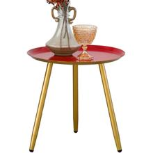 See Details - 7077 RED Top Round Metal Side Table w/ 3 Gold Metal Legs