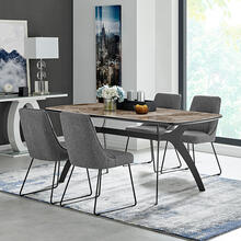 Andes and Quartz Gray Fabric 5 Piece Rectangular Dining Set