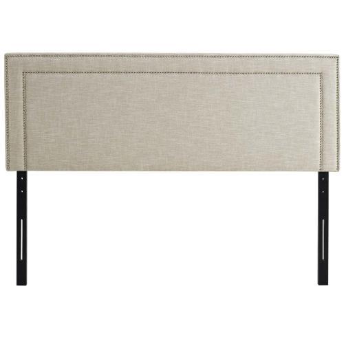 Jessamine King Upholstered Fabric Headboard in Beige
