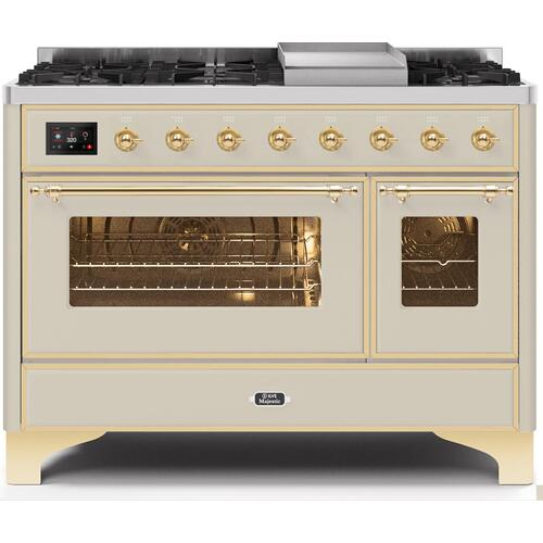 Majestic II 48 Inch Dual Fuel Natural Gas Freestanding Range in Antique White with Brass Trim