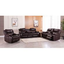 See Details - 8005 BROWN 3PC Breathable Leatherette Power Recline+USB Sofa SET