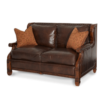 See Details - Wood Trim Leather/Fabric Loveseat - Opt1