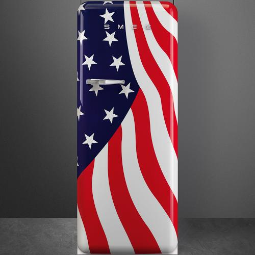 """Approx 24"""" 50'S Style Refrigerator with ice compartment, US Flag, Right hand hinge"""