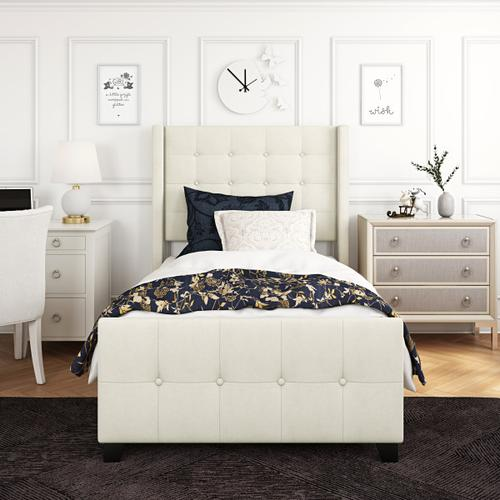 Accentrics Home - Twin Modern Wing Bed in Ivory