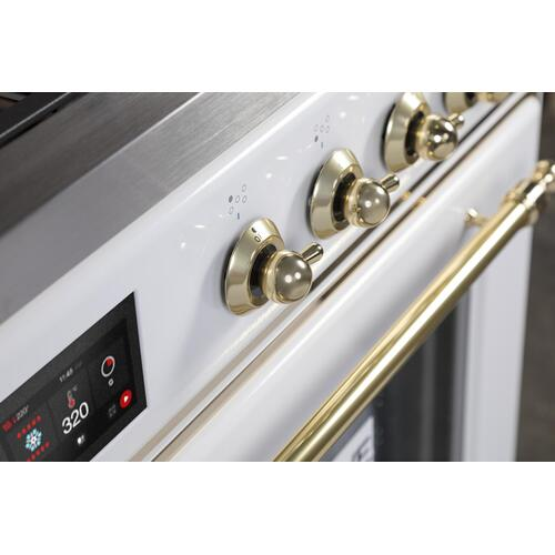 Majestic II 30 Inch Dual Fuel Liquid Propane Freestanding Range in White with Brass Trim