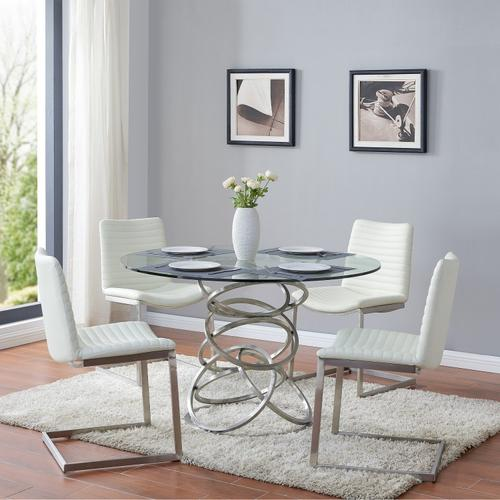 Wendy Contemporary Dining Table in Brushed Stainless Steel Finish and Clear Glass top