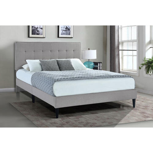 Grid Tufted Upholstered Queen Platform Bed in Frost Gray