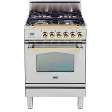 Product Image - Nostalgie 24 Inch Gas Natural Gas Freestanding Range in Stainless Steel with Brass Trim