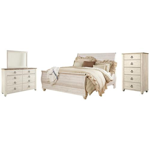 Product Image - King Sleigh Bed With Mirrored Dresser and Chest