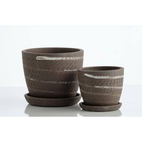 Alfresco Home - Wild Stripe Petits Pot w/ attchd saucer, Set of 2 (Min 4 sets)