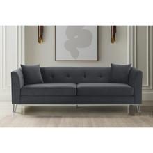 """See Details - Everest 90"""" Gray Fabric Upholstered Sofa with Brushed Stainless Steel Legs"""