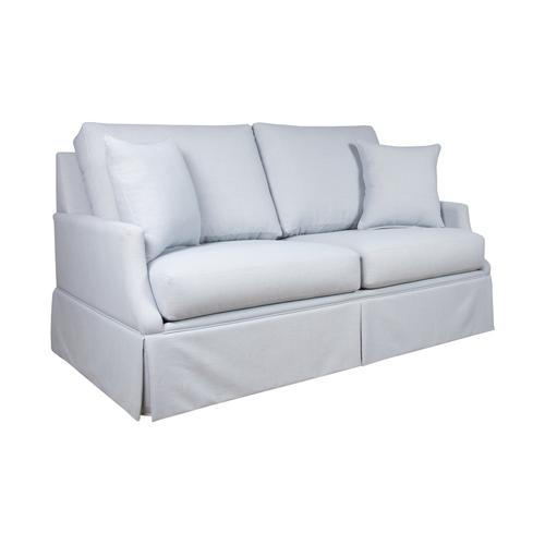 """Capris Furniture - 2 encased back pillows over 2 Convo-Lux seat cushion Skirted Sofa w/ 2-1/2"""" Walnut legs."""