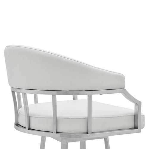 """Valerie 26"""" Counter Height Swivel Barstool with Brushed Stainless Steel Finish and White Faux Leather"""