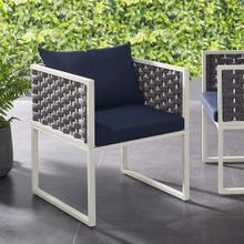 Stance Outdoor Patio Aluminum Dining Armchair in White Navy