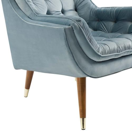 Suggest Button Tufted Performance Velvet Lounge Chair in Light Blue