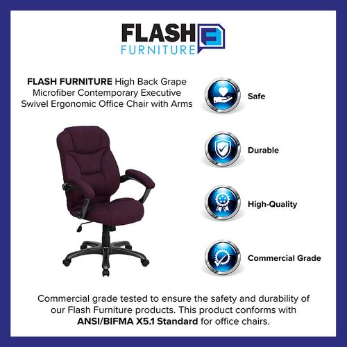 Gallery - High Back Grape Microfiber Contemporary Executive Swivel Ergonomic Office Chair with Arms