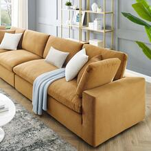 Commix Down Filled Overstuffed Performance Velvet 4-Seater Sofa in Cognac