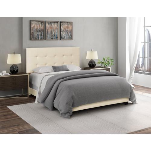Biscuit Tufted King Upholstered Bed in Linen Beige