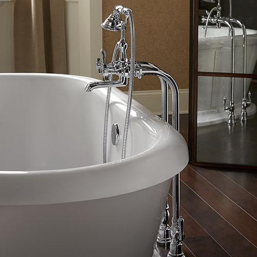 Traditional Floor Mount Bathtub Faucet with Landfair Cross Handles - Polished Chrome