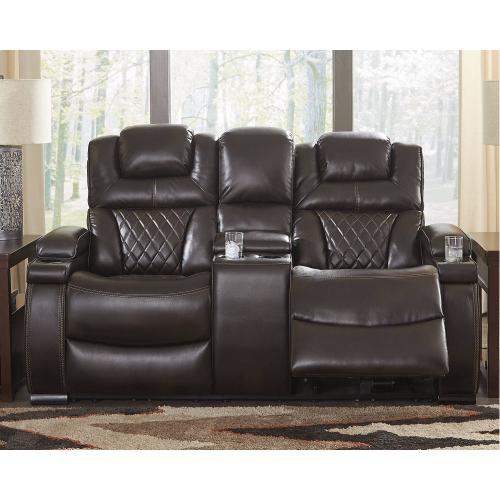 Power Reclining Console Loveseat with Adjustable Headrest
