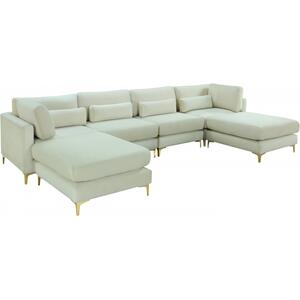 "Julia Velvet Modular Reversible Sectional - 142"" W x 77"" D x 33"" H"