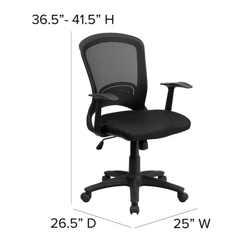 Flash Furniture - Mid-Back Designer Black Mesh Swivel Task Office Chair with Arms
