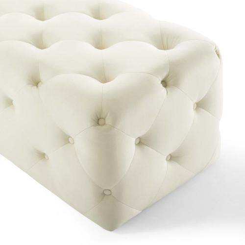 """Amour 60"""" Tufted Button Entryway Performance Velvet Bench in Ivory"""