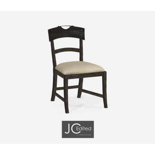 Planked Dark Ale Dining Side Chair, Upholstered in MAZO